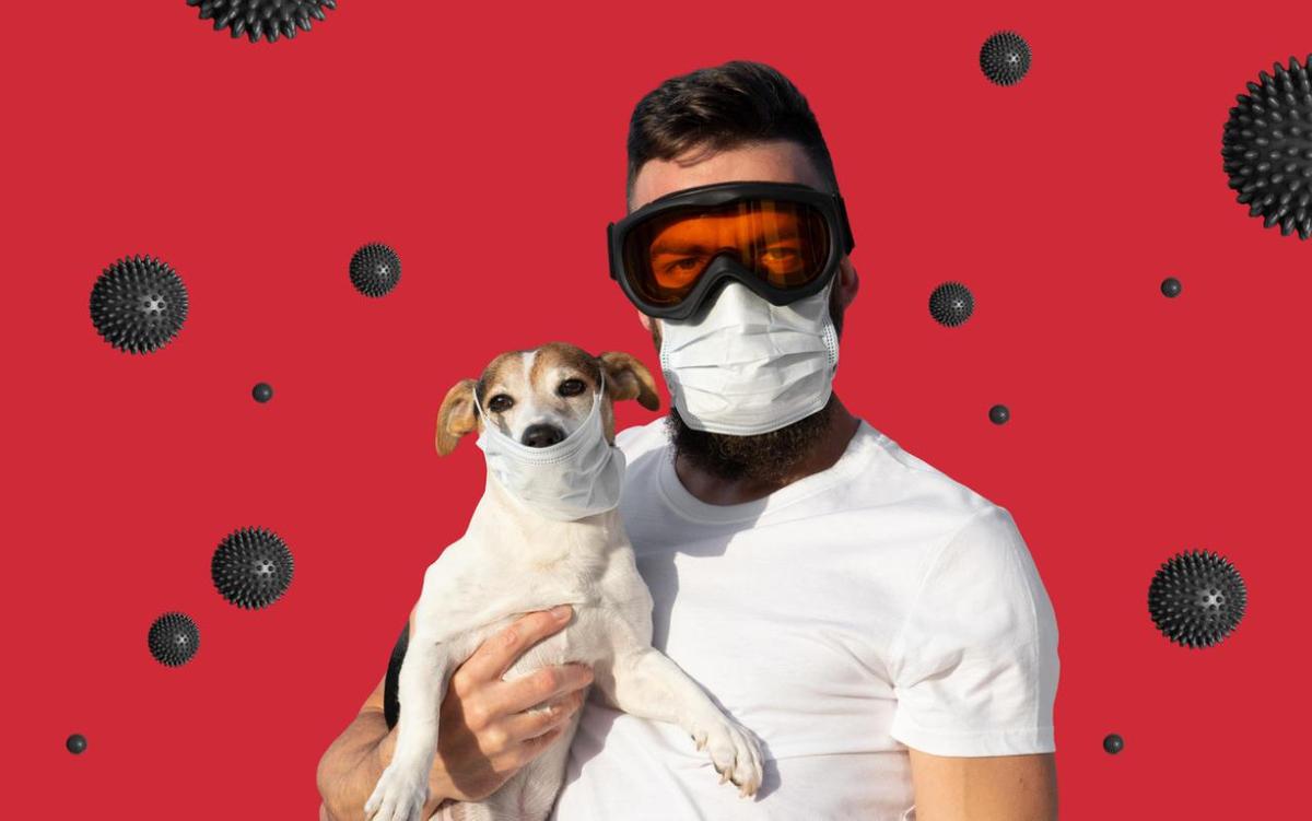 Tierhalter mit Mundschutz und ein Hund mit Mundschutz
